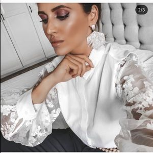 Zara White Blouse With Organza Sleeves